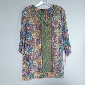 Tolani | Silk Paisley Tunic Dress multicolor S